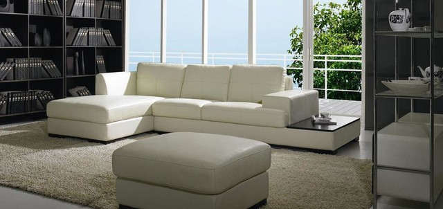 Modern Low Profile Sectional Sofa In White Leather Living Room