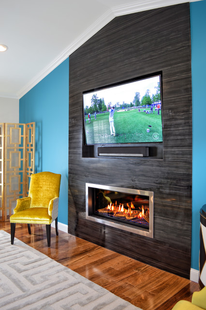Modern Marble Fireplace - Contemporary - Living Room - other metro - by Ember Fireplaces