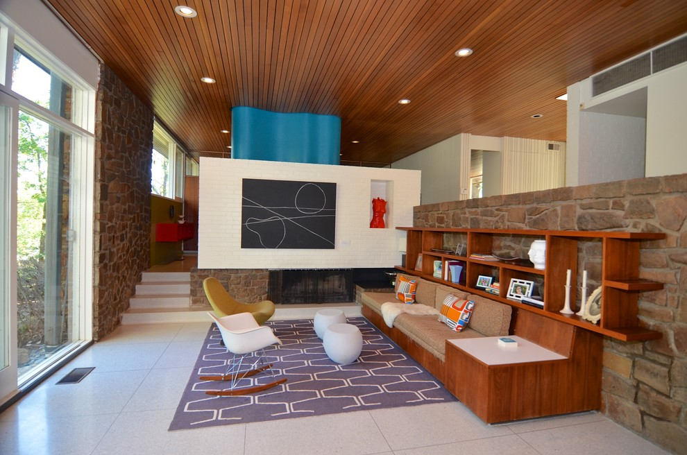 Inspiration for a mid-sized mid-century modern living room remodel in Other