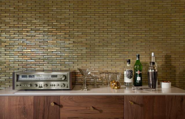 Modern Mosaic Feature Wall Contemporary Living Room Phoenix