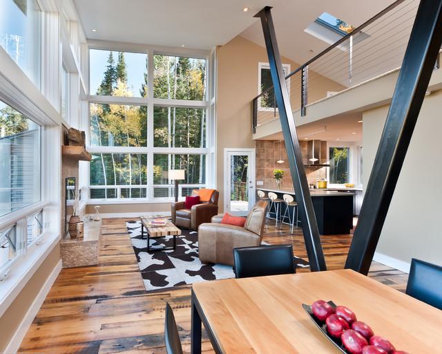 Modern mountain cabin contemporary living room for Modern mountain home interior design