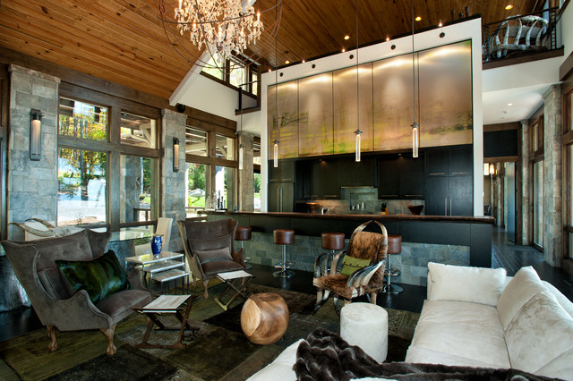 Modern Mountain Home Rustic Living Room Charlotte