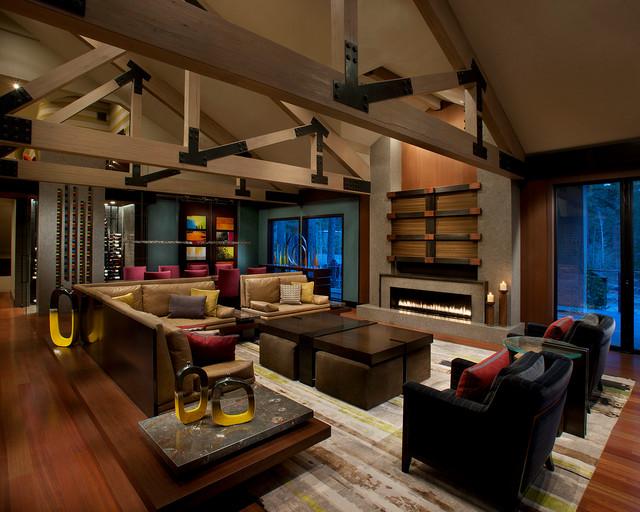 Modern mountain lake tahoe contemporary living room for Modern mountain home interior design