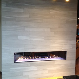 Modern, multi-colored Heat & Glo fireplace in Bellevue Showroom