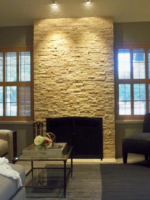 Modern Natural Stone Fireplace Living Room