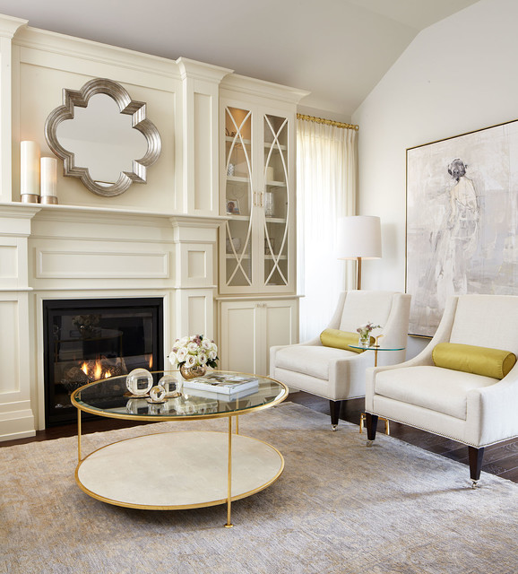 Modern Neutral Living Room With Gold Accents Contemporary