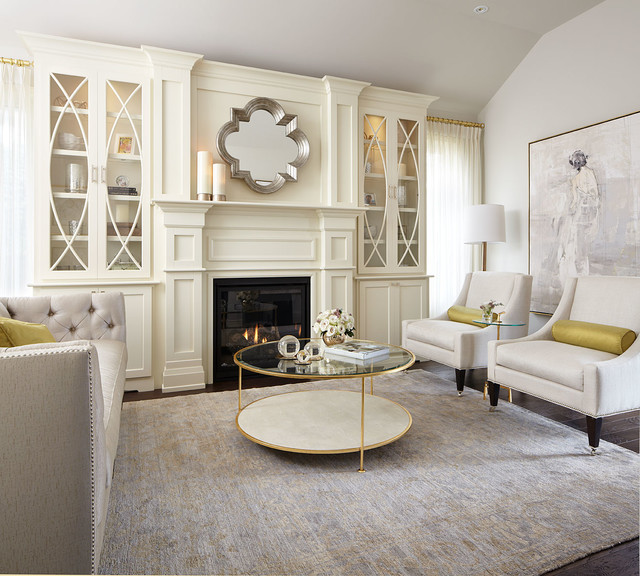 Modern neutral living room with gold accents traditional living room