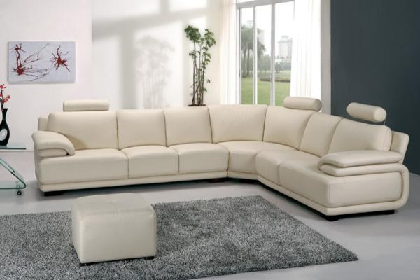 Modern Off White Leather Sectional Sofa With Adjustable Headrests U0026  Armrests Modern Living Room