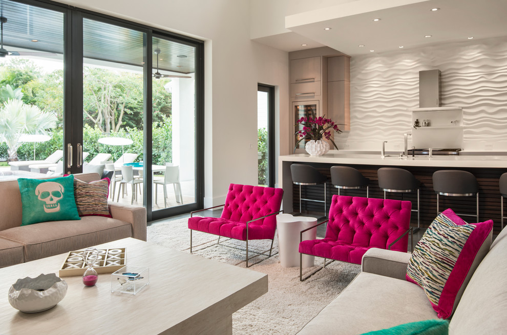 Living room - large contemporary open concept carpeted living room idea in Miami with white walls, a ribbon fireplace, a stone fireplace and a wall-mounted tv