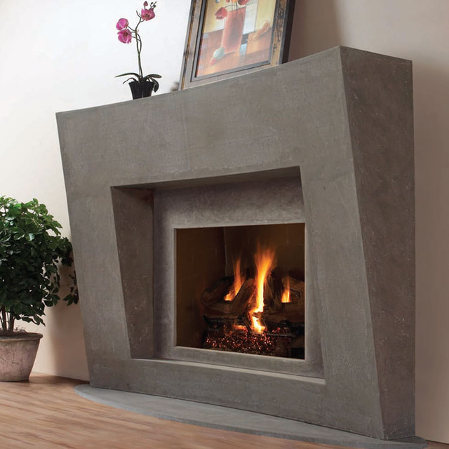 Modern Omega Fireplace Mantel of Stone in Montreal - Traditional ...