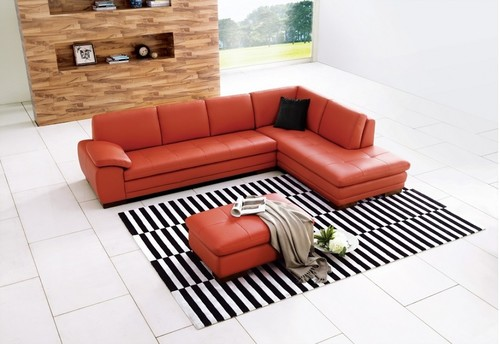 Modern Orange Leather Sectional Sofa