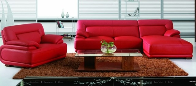 Modern Red Leather Sectional Sofa With Chair Living Room