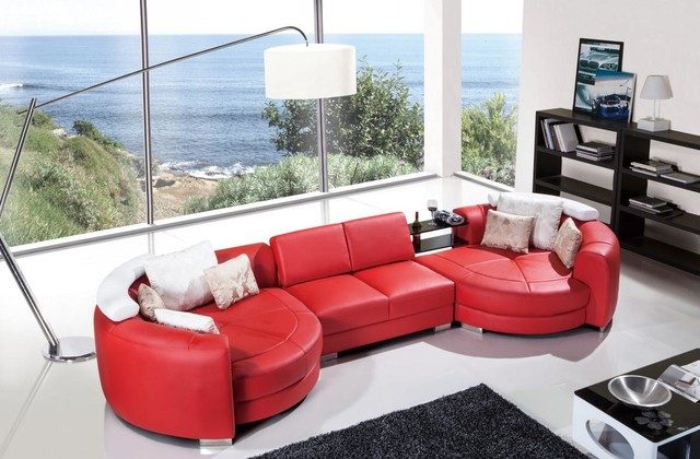 Modern Red Leather Sectional Sofa With, Red Leather Furniture
