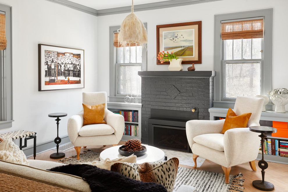 Eclectic formal brown floor living room photo in Chicago with gray walls and a standard fireplace
