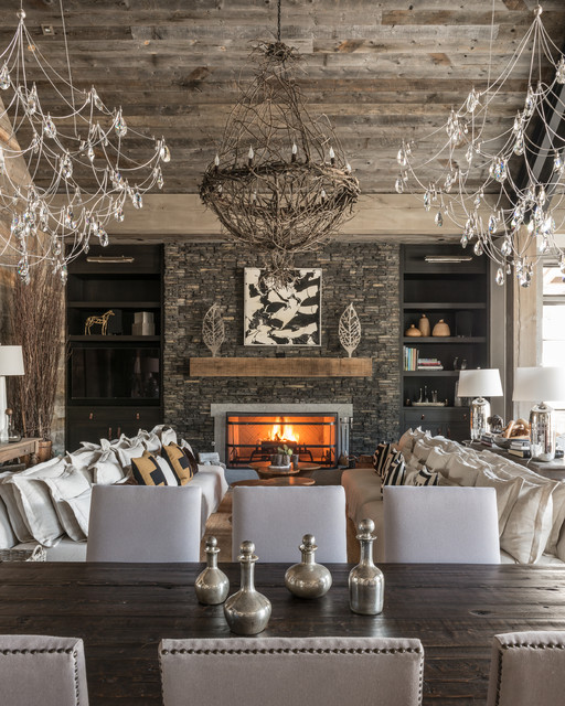 Modern Rustic Dining Room With Unique LightingRustic Living Room, San Diego