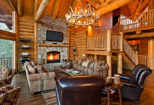 Modern Rustic Great Room Rustic Living Room