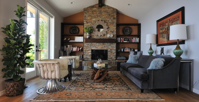 Modern Rustic Living Room Transitional Living Room: rustic modern living room design