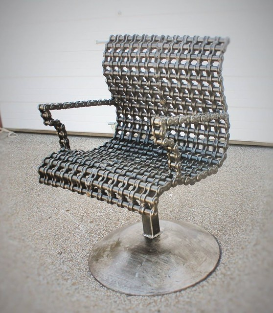 Modern Scrap Metal Chain Chair Contemporary Living