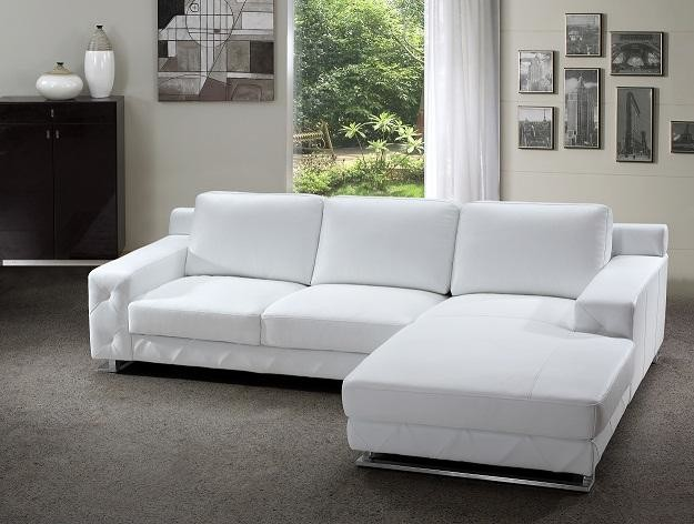 Modern Sectional Sofa in White Leather modern-living-room