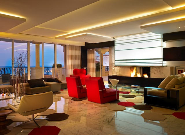 modern see through fireplace contemporary living room - Living Room Miami