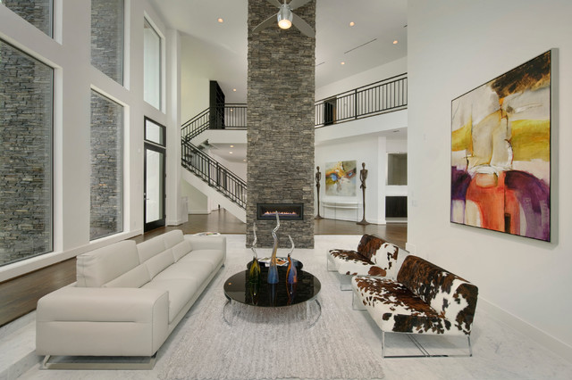 Modern Stone Accent Wall Contemporary Living Room