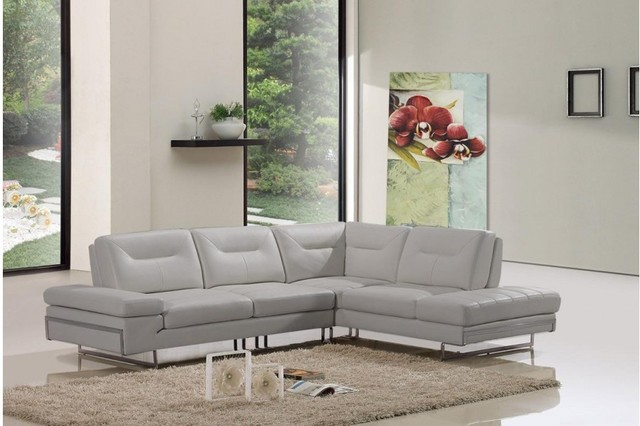 Modern Taupe Italian Leather Sectional Sofa Modern Living Room Other Me