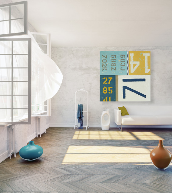 Modern Typography Wall Art In Teal And Yellow Modern Living Room Part 15