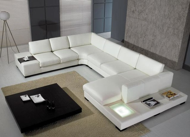 Modern U Shape Sectional Sofa In White Bonded Leather Modern Living Room