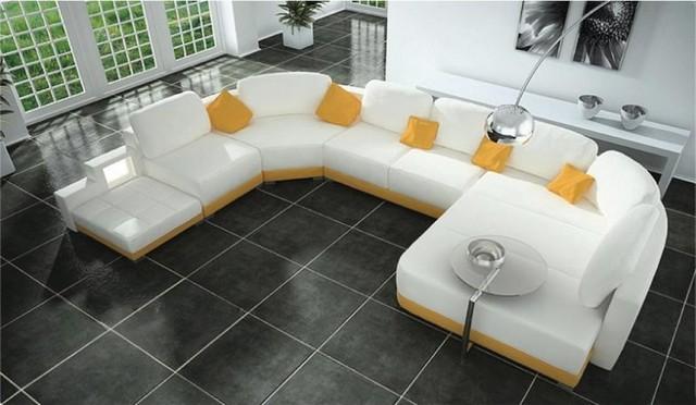 U Shape White Leather Sectional Sofa