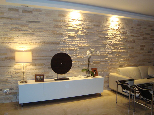 Modern Wall Covering Contemporary Living Room Other by