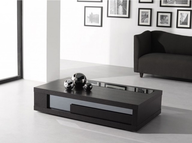 Modern Wenge Wood Glass Top Coffee Table - J&M - Modern ...
