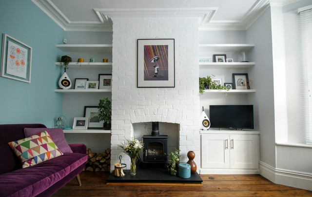 Modern White Alcove Shelving And Cupboards