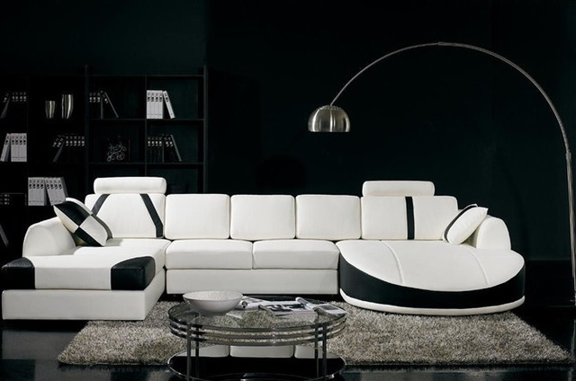 Modern White and Black Sectional Sofa with Chaises - Modern - Living ...
