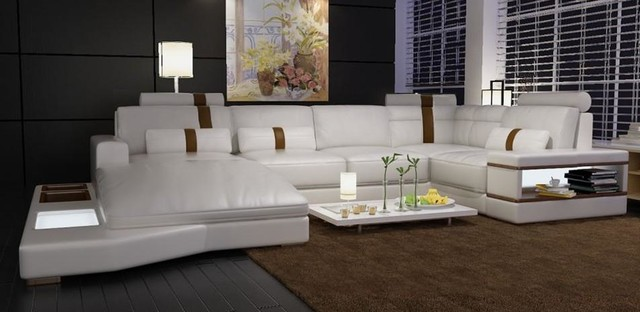 Modern White Bonded Leather Sectional Sofa with Built-in Lights modern-living-room : white bonded leather sectional sofa - Sectionals, Sofas & Couches