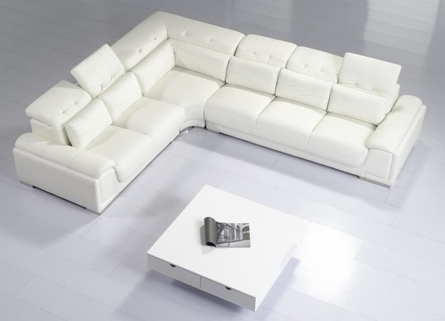 Modern White Leather Sectional Sofa With Adjustable Tufted