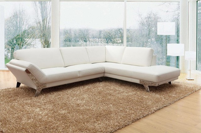 Superbe Modern White Sectional Sofa In Top Grain Italian Leather Modern Living Room