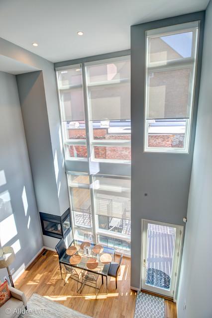 Modern Window Treatments 2 Story Living Room Modern Living Room Phila