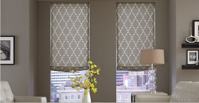 Modern window treatments 3 day blinds living room for Roman blinds for large windows