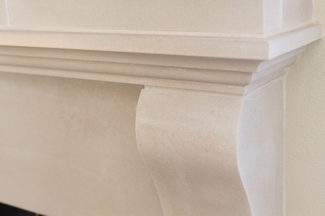 Modified Cambridge Cast Stone Fireplace Installation traditional-living-room