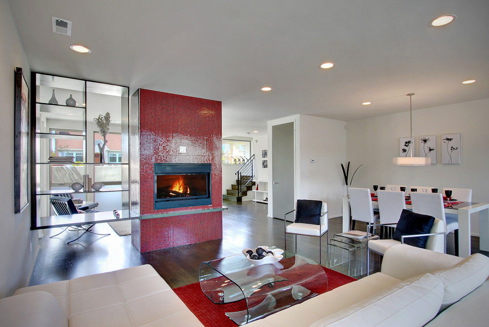 Example of a trendy living room design in Other with white walls, a standard fireplace and a tile fireplace