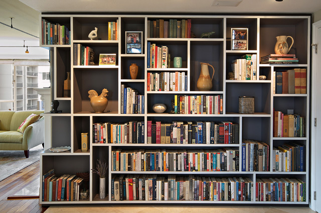 bookshelf in living room mondrian bookcase eclectic living room seattle by 14112
