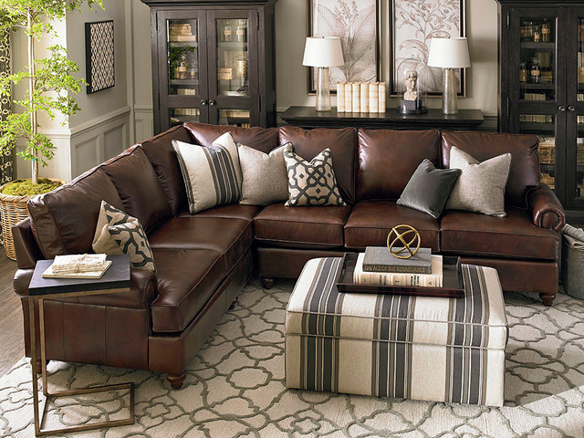 Montague Leather Sectional Living Room By Bassett Furniture Contemporary