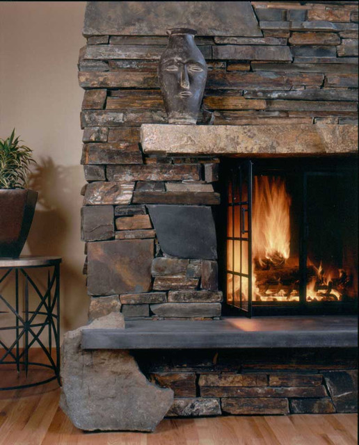 Montana Ledgestone Fireplace Detail Traditional Living