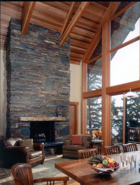 Montana Ledgestone Fireplace - Traditional - Living Room - Seattle ...