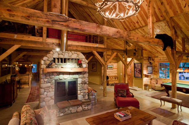 Montana Lodge Themed Barn Home Traditional Living Room Other By Sand Creek Post amp Beam
