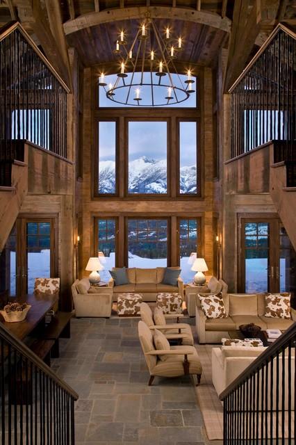 Marvelous Montana Ski House Rustic Living Room