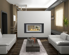 Monte Carlo 2 Sided Eco-Feu Ethanol Fireplaces modern-living-room