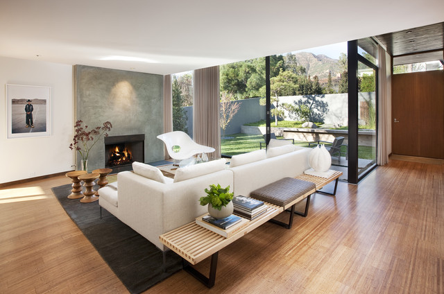 Beau Living Room   1950s Living Room Idea In Santa Barbara With A Concrete  Fireplace And White