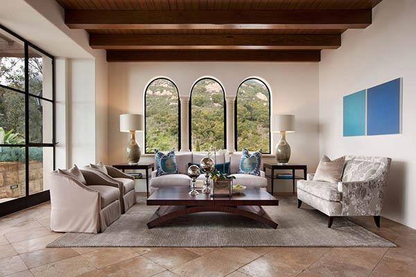 montecito transitional estate mediterranean living room santa