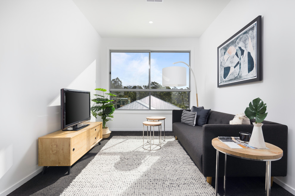 Example of a danish carpeted and black floor living room design in Brisbane with white walls and a tv stand